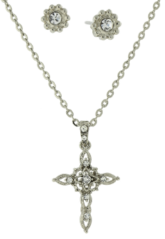 Silver and Crystal Cross Necklace and Earring Set