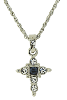 "Silver-Tone Blue Cross Pendant Necklace 16"" Adj."
