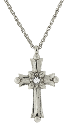 "Silver-Tone Crystal Cross Necklace 16""Adj."