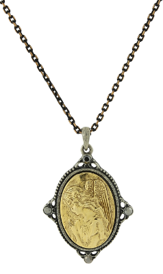 "Black-Tone and Gold-Tone Guardian Angel Pendant Necklace 16"" Adj."