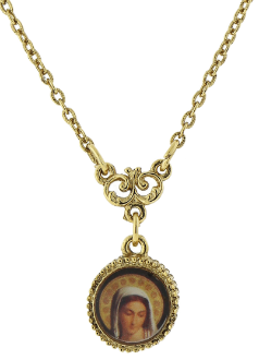 "Gold-Tone with Mary Decal Petite Pendant Necklace 16""Adj."