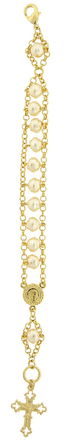 Gold-Tone Simulated Pearl Crucifix Bracelet