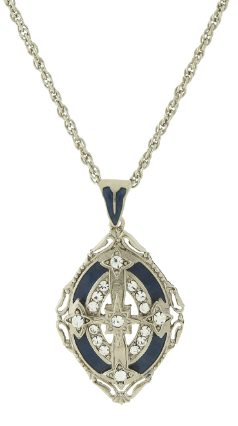 Silver-Tone Crystal with Blue Enamel Pendant Necklace 30""