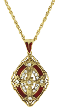 Gold-tone Hand-Enameled Cross Pendant