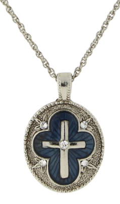 "Silver-Tone Crystal and Blue Enamel Cross Pendant Necklace 16"" Adj."