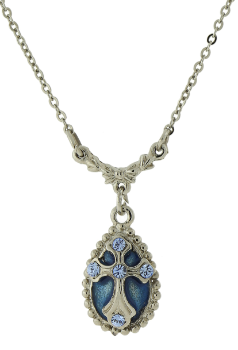 "Silver-Tone Light Blue Crystal and Blue Enamel Cross Pendant Necklace 16"" Adj."