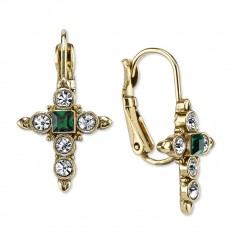 Gold, Crystal, Emerald Cross Leverback Earrings NOT AVAILABLE