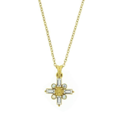 Gold Cross Necklace with Clear Baguettes