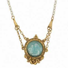 Mother and Child Enameled Medallion Necklace
