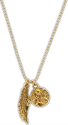 Gold Angel Medallion & Angel Wing Necklace