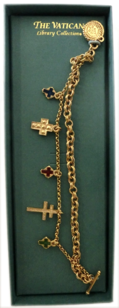 Double Chain Cross Charms Vatican Collection Bracelet NA