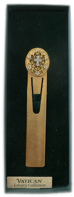 Vatican Collection Gold-Plated Crystal Cross Ornate Bookmark