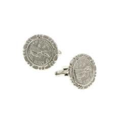 Silver-Tone St. Francis Round Cuff Links NA