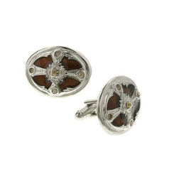 Silver-Tone and Brown Enamel Oval Cuff Links NA