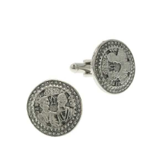 "Silver-Tone ""Two Apostles"" Round Cuff Links"