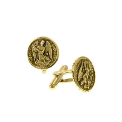 Gold-Tone St. Michael Round Cuff Links