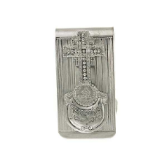 "Silver-Tone ""Remember Your Lord"" Cross Money Clip"