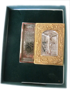 Gold and Silver Vatican Collection 'Crucifixion' Rosary Box NA