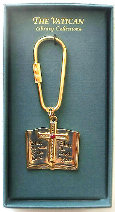 Bible Vatican Library Collection Gold and Crystal Key Fob