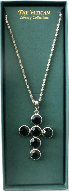 Black Crystal and Silver Cross Necklace NA