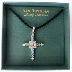 Silver and Blue Crystal Cross Vatican Library Collection Necklace