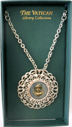 Ornate Silver-Plated Cherub Vatican Necklace