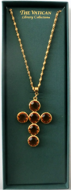 Citrine Swarovski Crystal Cross Vatican Necklace