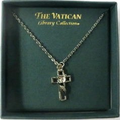 Silver Cut-Out Cross Vatican Necklace