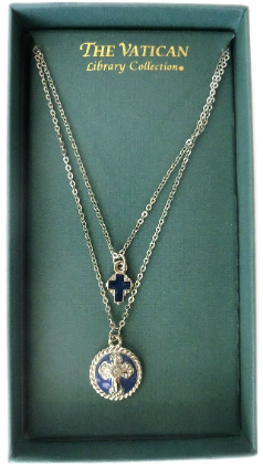 Delicate Inspirations Dual Strand Royal & Silver Hues Cross Necklace NA