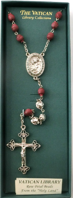 Vatican Collection Rose Petal and Silver Bead Rosary