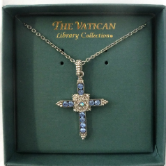 Sapphire Silver Vatican Library Collection Cross Necklace