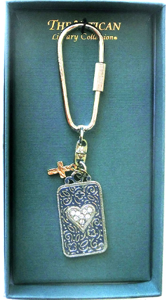 'Love is All' Silver Vatican Library Key Ring