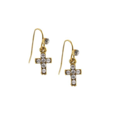 Delicate Inspirations Mini Cross Drop Earrings (Gold)