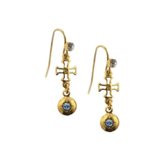 Delicate Inspirations Bejeweled Cross Earrings (Gold)