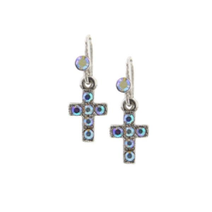 Delicate Inspirations Mini Cross Drop Earrings (Silver)