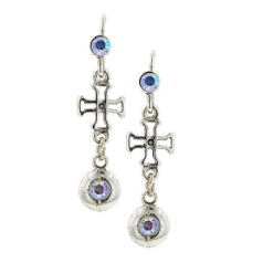Delicate Inspirations Bejeweled Cross Earrings (Silver)