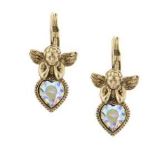 Gold & Crystal Angel Heart Earrings