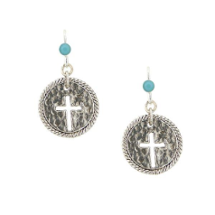 Round Silver Turquoise Bead Cross Earrings