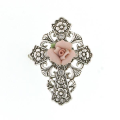 Pink Floral Cross Brooch