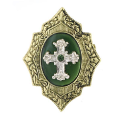 Green Gold Shield Cross Brooch