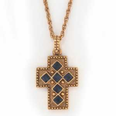 Gold & Montana Crystal Cross Necklace