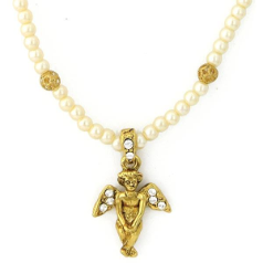 Sweet Cherub Gold Tone Simulated Pearl Necklace