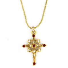 Star Emblazoned Cross Gold Tone Pendant Necklace