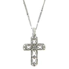 Silver Tone Filigree Crystal Center Cross Pendant Necklace