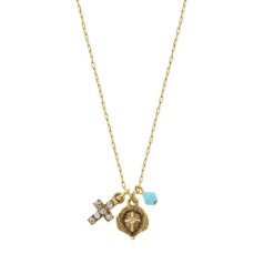 Delicate Inspirations Miniature Charm Trio Necklace (Gold)
