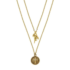 Delicate Inspirations Layered Look Angel & Cross Charms Necklace