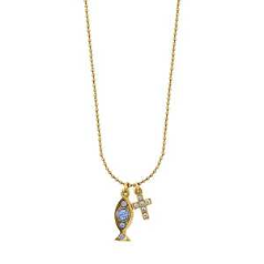 Delicate Inspirations Cross & Fish Charm Necklace