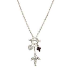 Delicate Inspirations Faux Toggle Petite Silver Angel Necklace