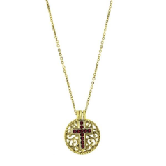 Birthstone Cross Pendant Necklace - January Garnet