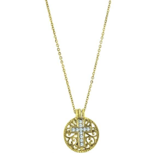Birthstone Cross Pendant Necklace - April Diamond